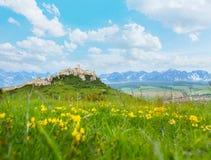 Castelo de Spis com as montanhas no fundo Imagem de Stock