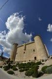 Castelo de Torija através de uma lente de fisheye fotos de stock