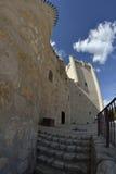 Castelo de Torija através de uma lente de fisheye fotografia de stock