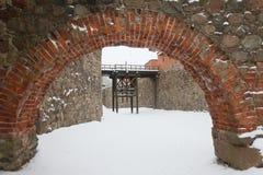 Castelo de Trakai em Lituânia no inverno foto de stock