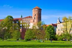 Castelo de Wawel no dia ensolarado em Cracow, Polônia Foto de Stock