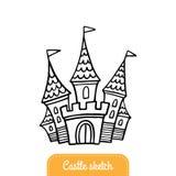 Castelo desenhado à mão bonito do conto de fadas Castelo dos desenhos animados da garatuja para uma princesa ilustração royalty free