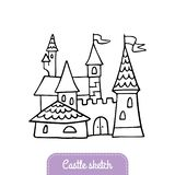 Castelo desenhado à mão dos desenhos animados Castelo do conto de fadas da garatuja para o reino mágico ilustração stock