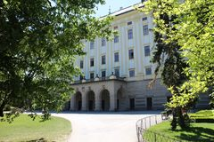 Castelo do ¾ do› Å™ÃÅ de KromÄ com jardim do arcebispo, Moravia Imagem de Stock Royalty Free