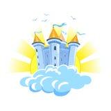 Castelo do conto de fadas nas nuvens com o sol Fotografia de Stock Royalty Free