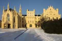 Castelo do conto de fadas no inverno Fotos de Stock Royalty Free