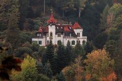 Castelo do conto de fadas no meio de um mountaine da floresta fotografia de stock royalty free