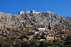 Castelo do cruzado, console de Halki Foto de Stock Royalty Free