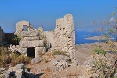 Castelo do cruzado, console de Halki Imagem de Stock
