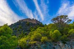 Castelo do castelo da vila de Assos na ilha de Kefalonia em Grécia fotos de stock