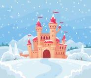 Castelo do inverno dos contos de fadas Paisagem nevado mágica com ilustração medieval do fundo do vetor dos desenhos animados do  ilustração royalty free