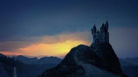 Castelo do livro de histórias no nascer do sol