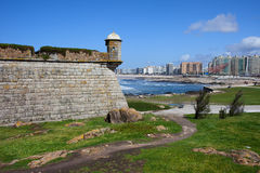 Castelo do Queijo and Matosinhos Skyline Royalty Free Stock Photo