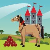 Castelo do reino com cavalo ilustração do vetor