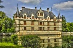 Castelo do renascimento de Azay le Rideau em Touraine imagens de stock