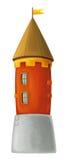 Castelo dos desenhos animados - fortifique a torre ou o tipo da prisão medieval - isolado Fotos de Stock Royalty Free