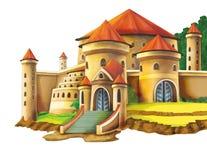 Castelo dos desenhos animados no fundo branco - para o uso diferente ilustração do vetor