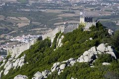 Castelo dos Mouros. The Castelo dos Mouros (Castle of the Moors) is located in Sintra, Portugal.  Situated on a high hill overlooking the village, it is part of Stock Images