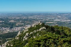 Castelo dos Mouros from Palacio de Pena in the outskirts of Sintra in Portugal. View over Castelo dos Mouros from Palacio de Pena in the outskirts of Sintra in Stock Photo