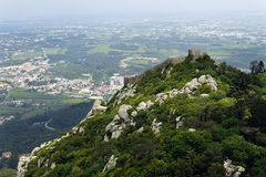 Castelo dos Mouros in Sintra, (Portugal). View of the Moors Castle from Palacio da Pena in Sintra, near Lisbon in Portugal. This castle dates from the IXth Royalty Free Stock Photography