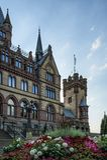 Castelo Dragon Castle de Drachenburg perto de Koenigswinter - Bona em Alemanha Reno-Westphalia norte foto de stock royalty free