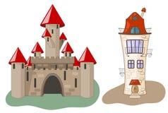 Castelo e casa Imagem de Stock