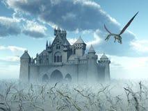 Castelo e dragão de voo ilustração royalty free
