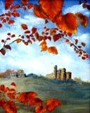Castelo e folhas Imagens de Stock Royalty Free