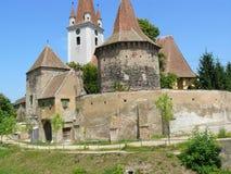 Castelo e igreja Transilvania Foto de Stock Royalty Free