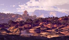 Castelo e lago ilustração royalty free