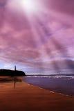 Castelo e ondas da praia de Ballybunion Fotos de Stock Royalty Free