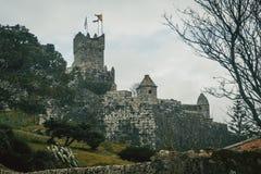 Castelo e parede Espanha de Baiona, Galiza fotografia de stock