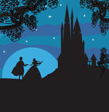 Castelo e princesa com príncipe Foto de Stock
