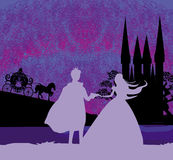 Castelo e princesa mágicos com príncipe Fotografia de Stock