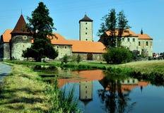 Castelo e rio de Svihov próximo, República Checa fotos de stock