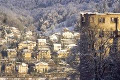 Castelo e vila vermelhos, Heidelberg, Alemanha foto de stock royalty free