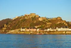 Castelo Ehrenbreitstein e o rio de Rhine Fotos de Stock Royalty Free