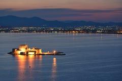 Castelo em Nafplio, Greece de Bourtzi foto de stock