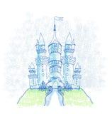 Castelo esboçado da garatuja ilustração royalty free