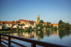Castelo espetacular Telc, uma cidade em Moravia, um local do patrimônio mundial do UNESCO em República Checa, Europa Imagens de Stock Royalty Free