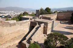 Castelo Gibralfaro em Malaga, Spain Foto de Stock Royalty Free
