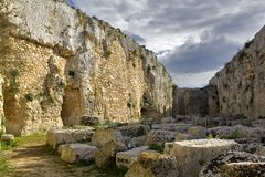 Castelo grego de Eurialo, vala Fotografia de Stock Royalty Free
