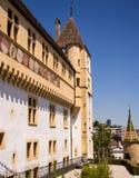 Castelo histórico de Neuchatel, Suíça fotos de stock royalty free