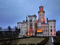 Castelo Hluboka, castelo do conto de fadas Foto de Stock Royalty Free