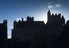 Castelo iluminado para trás Fotografia de Stock
