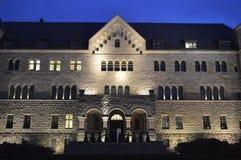 Castelo imperial de Poznan na noite fotos de stock
