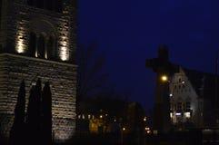 Castelo imperial de Poznan na noite fotos de stock royalty free