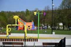 Castelo inflável colorido, Katowice, Muchowiec Fotografia de Stock Royalty Free