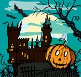 Castelo isolado arruinado velho com a abóbora na noite Foto de Stock Royalty Free