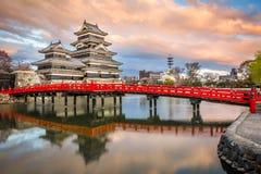 Castelo Matsumoto-jo de Matsumoto, primeiros castelos históricos japoneses em Honshu easthern, Matsumoto-shi, região de Chubu, Na Fotos de Stock Royalty Free